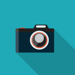 Flat Design Concept Camera Vector Illustration With Long Shadow.