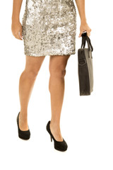 woman silver dress body hold bag legs front