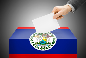 Ballot box painted into national flag colors - Belize