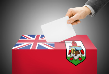 Ballot box painted into national flag colors - Bermuda