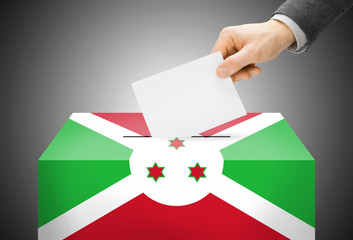 Ballot box painted into national flag colors - Burundi