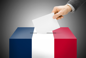 Ballot box painted into national flag colors - France