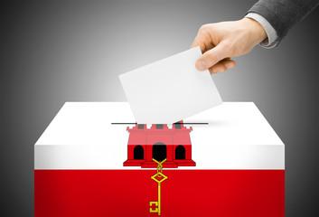 Ballot box painted into national flag colors - Gibraltar