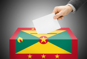 Ballot box painted into national flag colors - Grenada