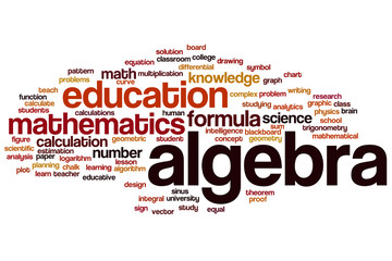 Algebra word cloud