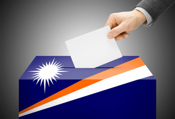Ballot box painted into national flag colors - Marshall Islands