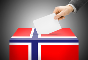 Ballot box painted into national flag colors - Norway