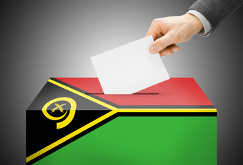 Ballot box painted into national flag colors - Vanuatu