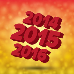 Happy new 2015 card with past and future years. Colorful illustr