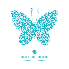 Vector abstract underwater plants butterfly silhouette pattern