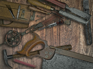 vintage woodworking tools on wooden bench