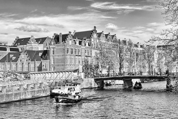 Channels of Amsterdam. Typical Amsterdam architecture. Urban spa