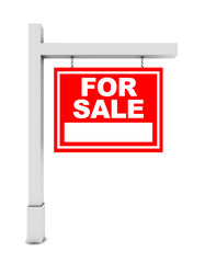 For sale banner on white background
