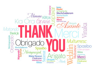 Colorful Thank You Word Cloud in vector format