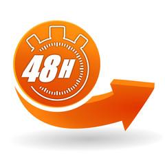 Fototapete - 48 heures sur bouton web orange