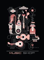 Papiers peints Art abstrait Music shop