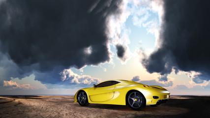 Sportwagen unter einem wolkigen Himmel