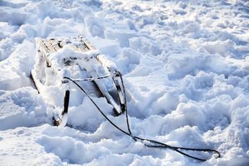 Sledges in deep snow