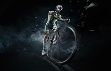 Photo sur Aluminium Cyclisme Sport. Isolated athlete cyclists