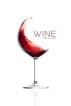 Red Wine in Balloon Glass. Splash Design