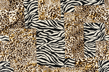 texture of print fabric striped zebra and leopard