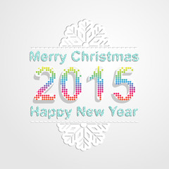 Merry Christmas and happy new year 2015.Snowflake pattern font