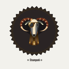 Vector illustration of goat steampunk, symbol of 2015. Element