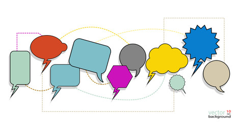 Colorful Speech Bubbles are interconnected