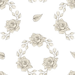 roses wreath seamless pattern engraving style