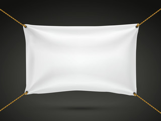 white textile banner
