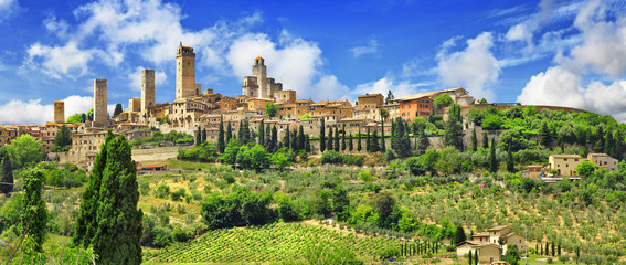 panorama of beautiful San Gimignano, Tuscany. Italy Wall mural
