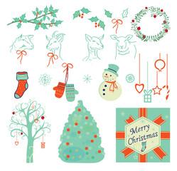 Set of Christmas illustrations, symbols, icons, vector