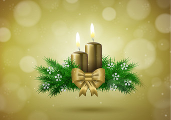 Christmas background with candles and empty space vector