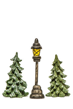 Christmas trees with lantern isolated