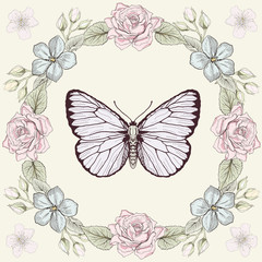 floral frame and butterfly engraving style
