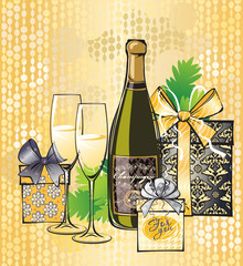 Christmas illustration of champagne