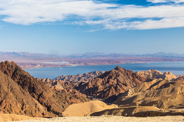 Red sea, Eilat bay mountains.