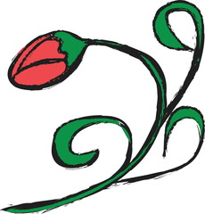 doodle red bud roses