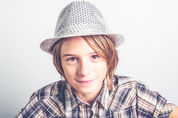 child with disco hipster hat
