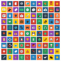 100 Universal Flat Icons for Web and Mobile Applications