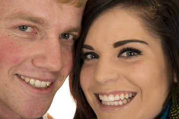 couple faces close both smile and look
