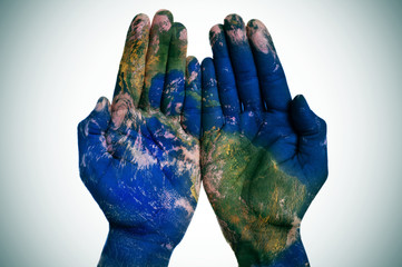 Deurstickers Wereldkaart the world in your hands (Earth map furnished by NASA)