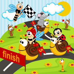 race snails  - vector illustration, eps