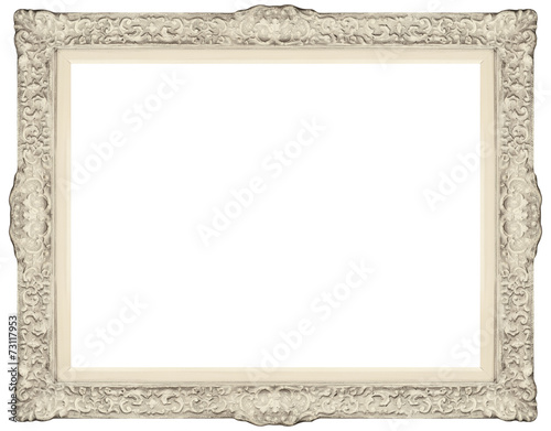 White baroque Frame isolated on white background.\