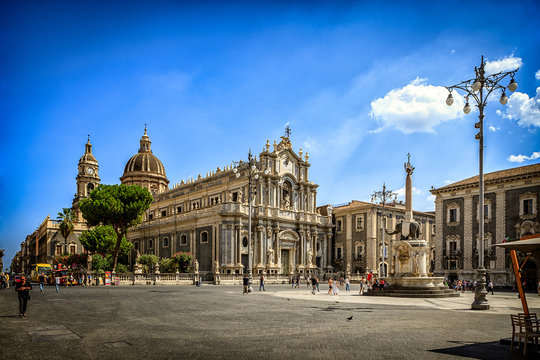 Catania Cathedral and City Square on Sunny Day