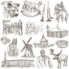 Belarus: Travel around the World. An hand drawn illustration on
