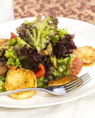 Potato salad with mushrooms and herbs