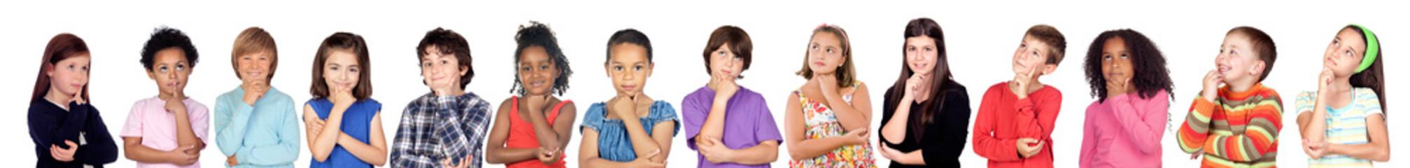 Many children thinking