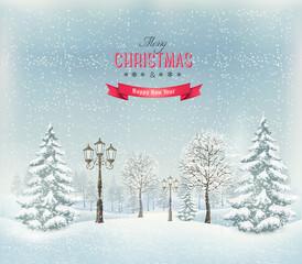 Foto auf Acrylglas Rosa dunkel Christmas winter landscape with lampposts. Vector.
