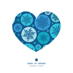 Vector round snowflakes heart silhouette pattern frame